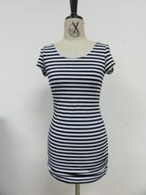 nuevo 2014 casual para damas de manga corta de color negro y blanco a rayas medio vestidos de algodón