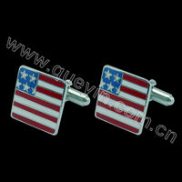 national flag cufflinks with USA flag on top of epoxy
