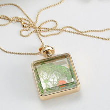 2015 new vintage jewelry European collar fashion crystal silver diy women necklace chain flowers in glass ball pendant