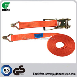 manufacture producing 50mmX10M cargo lashing belt with doule j hook