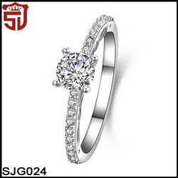 White Gold Plated Ring for Women with 0.8ct Clear Cubic Zirconia Stone Women Antique Vintage Ring