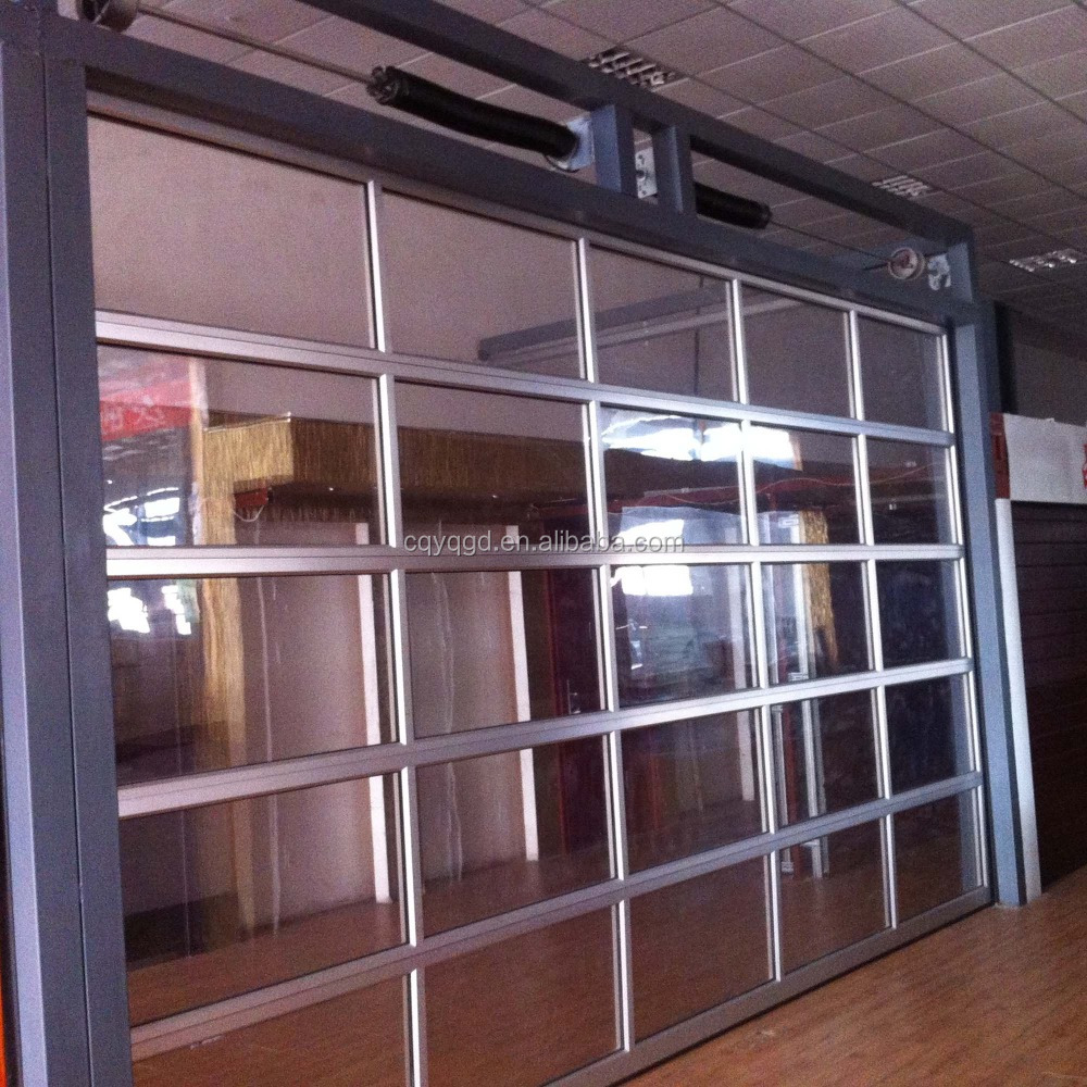 Finger protection sectional aluminum full view glass for Sectional glass garage door