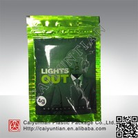 Hot Sale light out 4g potpourri pouch for herbal incense/light out 4g spice ziplock pouch