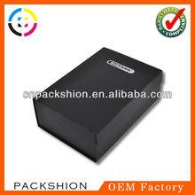 Packaging matte black cardboard box with logo printing