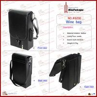PU leather shoulder bag for wine bottle packaging
