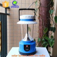 high quality solar rechargeable lantern with fm radio for camping use