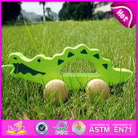 Hot sale high quality Wooden Baby Push and Pull crocodile toy,Promotional gift wooden push up toyin bulk W05B082-A1
