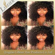 Stock wholesale kinky curl human hair brazilian full lace human hair wigs