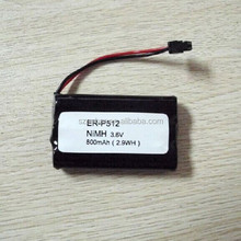 Rechargeable nimh aaa 800mAh 3.6v battery pack for cordless phone