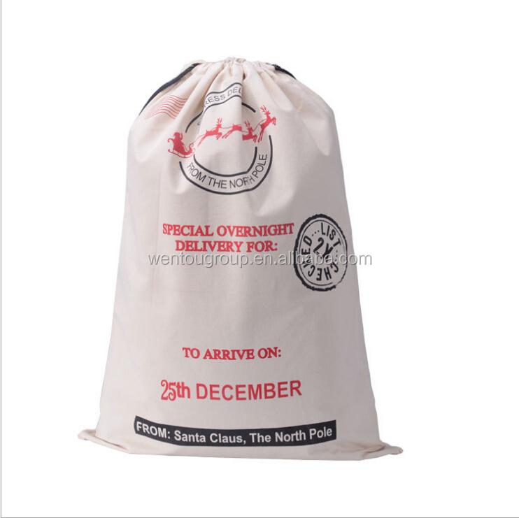 Hot sale christmas gift bag canvas santa sack with