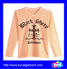 Womens orange and white striped yarn dyed t shirt vertical striped v neck long sleeve t shirt with printing