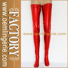 Famous Brand women Red Wet Look Faux Leather Stockings
