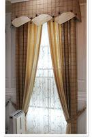 2014 New European linen yarn dyed window curtain drapery and pelmet valance designs