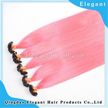 Elegant whloesale low price Pink yellow blue Chinese Virgin Human Hair U tip hair extension for Asian hair