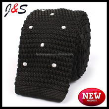 fashion mens100% POLYESTER black knitted tie with white polka dotsKT026