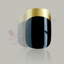 golden smille line french nail art nail tips