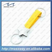 handmade custom autorotation metal star yellow leather key chain