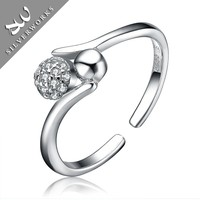 double ring silver diamond ring 925 double ball ring for wedding