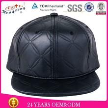 OEM Custom Leather Brim Metal Patch Logo Flat Brim Snapback Cap
