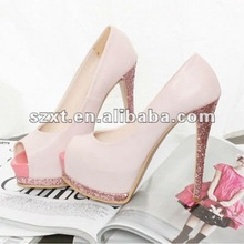 Latest Glitter High Heel Shoes Nude Color Exotic Shoes XT12101201
