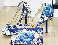 new fashion sexy blue jeweled running shoe