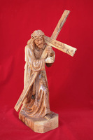 olive wood Jesus christ carrying his cross statue