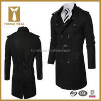 Best Selling Double Breasted Black New Coat Designs For Men