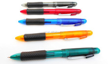 Hot sellelling promotional multicolor pen with pencil&plastic 3 in 1 multicolor ball pen