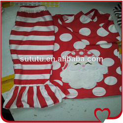 Latest Fashion Wholesale Kids Trendy Clothing Boutique Polk Dots And Stripe Ruffle Baby Christmas Outfit