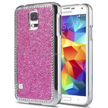 Glitter Bling S5 Case Crystal Rhinestone and Brushed Chrome Bumper Hard Plastic Case for Samsung Galaxy S5