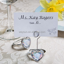 Wedding favor Heart shaped engagement ring place card holders crystal ring name Card Holder