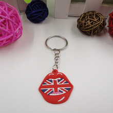 Cheap Soft Pvc Keychain Mouth key chain promotion products Pvc national flag key chain