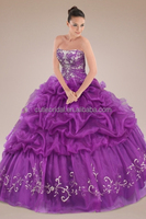 Iridescent Strapless Holding Embroidery Quinceanera Gown Custom Made Organza Pick-ups Dresses China Alibaba