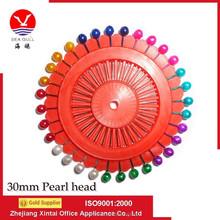 Wholesale 30mm Color Pearl Head Straight Muslim Hijab Pin