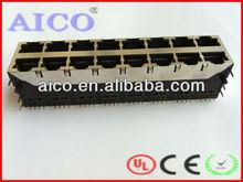 Side Entry RJ45 multi-port modular PCB jack/2*8 port 8p8c pcb connector