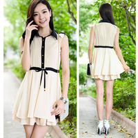 Сладкая девочка женщин Корейском пэчворка танк платье отложным воротником складка шифон платье без рукавов