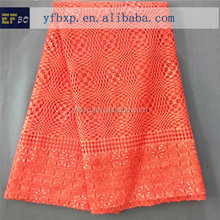 "Indonesian tradition dress material 51-52"" orange african cord lace fabrics with stones/ swiss guipure with stones for wedding"
