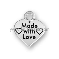 Vintage Antique Silver Tone Mini Heart Charm Stamped Made With Love Letter ,Charms For Bracelets