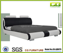 Popular model Black&white modern design leather bed,double bedroom furniture leather bed