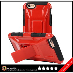 Keno Kickstand Sports Car Hybrid Bumper Soft Silicone Case Cover For iPhone 6 Plus 5.5 Inch