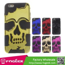 Cool Skull Pattern Electroplating PC + Silicone Hybrid Case for iPhone 6 Plus