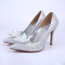 Bridal wedding shoes strass women high heel shoes small crystal stone shoes for wedding / party