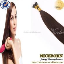 wholesale brown color AAAAA+ grade 1g strand Brazilian I tip hair pre bonded hair