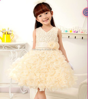 2016 girl dress champagne new frock design 3 year old flower girl dresses