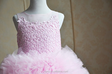 2015wholesale childrens girls cotton chiffon ruffles fluffy princess birthday ball gown pink export dresses for kids