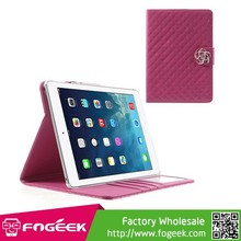 Fast Shipping Sparkling Rhinestone Camellia Magnetic Glossy Grid Pattern Smart Leather Cover for iPad Air
