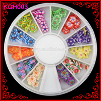 KQH003 Fashion 120 pcs Fimo Slices Wheel Flower Accessories For Beauty Nail Care Decorations Nail Wheels
