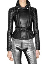 New Lambskin Leather Quilted Leather Moto Jacket Size USA/EU