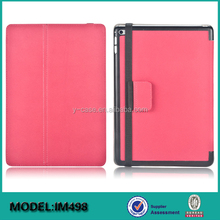 Folio stand leather case for iPad mini 4 , with handstrap ,stylus holder and safety belt