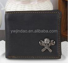 Europe Brand Skull Durable Genuine Leather Men Wallet